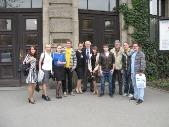 21. The group of MPEI students at the main entrance to Czech Technical University. In the center there id Jan Pozar – Head of the International Department