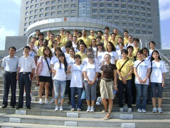 32. Foreign participants (among them MPEI students) of International Students Festival in People's Republic of China near the governmental building at Harbin City