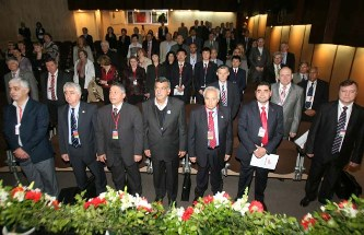47. Opening of VII All-Arabian Meeting of Soviet and Russian graduates in UNESCO Palace in Beirut. At first row the Ukranian Ambassador in Lebanon Mr. V.A. Koval', Minister of Education of Lebanon Mr. Khasan Mnaime, Russian Ambassador in Lebanon A.S, Zasypkin and other officials