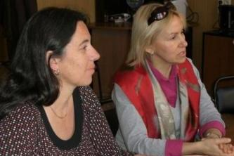 52. Delegation of Institute of Automobile Transport (ISAT, France): Mdm. Batrice Lay (left) and Mdm. Inna Podkopaeva-Lenuar (right)