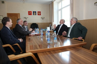 55. Discussion of cooperation development between MPEI and Wroclaw Polytechnik. From left to right: Head of MPEI Department on International Cooperation Alexander Tarasov; MPEI Rector Sergey Serbriannikov; MPEI Vice-Rector on International Relations Igor Zhelbakov; WP Rector Tadeusz Wieckowski, coordinator of cooperation Wlodzimierz Marek Baranski